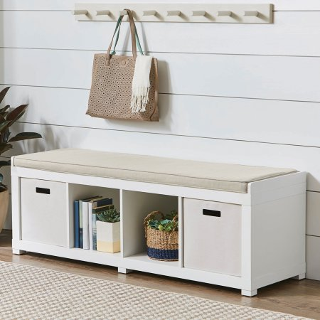 Better Homes and Gardens Storage Organizer Bench, (4-Cube, White)