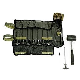 Lucx® Kit de Sardines 14 pièces avec Marteau en Caoutchouc et Tasch pour piquets de Tente Bivouac pour Tente de pêche en T – Pegs pour Tente de Carpe