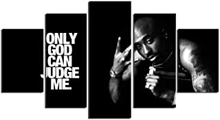 YI KUI Canvas Prints 5 Panels Tupac Amaru Shakur Modern Home Wall Decoration Canvas Picture Art HD Print Painting for The Living Room, B, 30 × 50 × 2 + 30 × 70 × 2 + 30 × 80 × 1