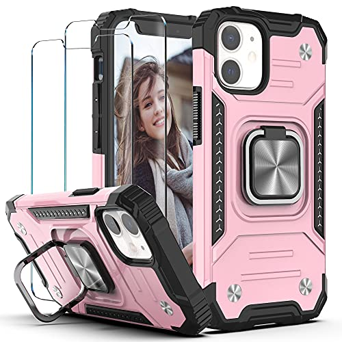 """YmhxcY Phone case for iphone 12 mini Case with Tempered Glass Screen Protector [2 pack],Armor Grade Case with Rotating Holder Kickstand Non-Slip Hybrid Rugged Case For iPhone 12 mini 5.4""""-KJ Rose Gold"""
