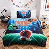HTgroce 3D Sports American Football Helmet Comforter Set for Teen Boys Girls, Soft and Washable Bedding Sets (Twin XL(68'x86') 1 Quilt+1 Pillow Shams