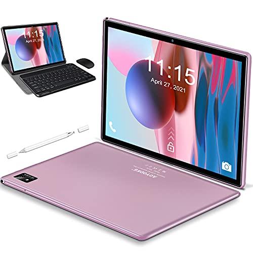 Tablet 10.1 Pulgadas Android 10 5G WiFi 4G LTE,Tableta 6GB RAM+128GB ROM /512GB,con Procesador de Octa-Core Ultrar-Rápido Tablets,Bluetooth|Type-C|7000mAh|GPS - Tablet con Teclado y Raton (Rosa)