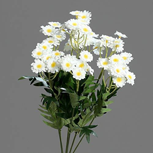 mucplants Künstliches wunderschönes Margeriten-Bouquet Weiß H:34cm Kunstblumenzweig Kunstpflanzen Dekostecker Blumenstecker