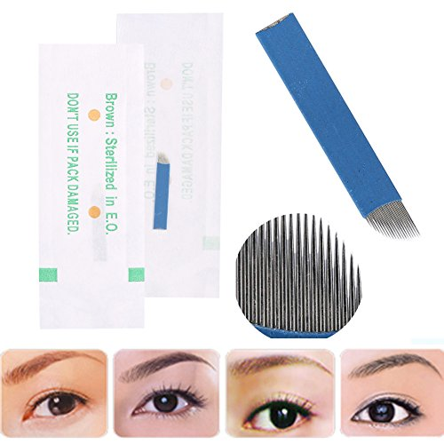 50 Unids / caja 3D Tatuaje de Cejas Manual Microblading Maquillaje Permanente Aguja Estéril 18 Pin Cuchilla