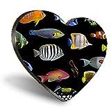 Posavasos con forma de corazón de MDF, para mascotas con arrecife tropical, con calidad brillante, protección de mesa para cualquier tipo de mesa #15903
