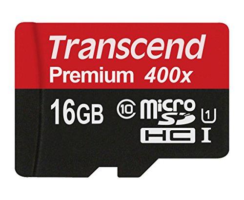 Transcend TS16GUSDCU1 Class 10 Premium microSDHC 16GB Speicherkarte UHS-I
