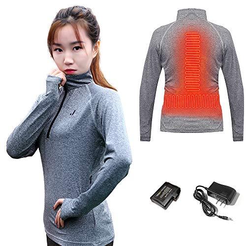 J JINPEI Heated Shirt Women Quarter Zip Pullover Heated Sweatshirt Mens Long Sleeve Shirt Thermal Heated Hoodie Heated Clothing for Winter (Grey, XL)