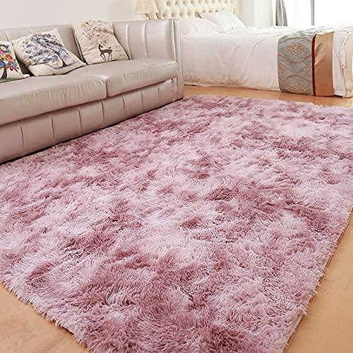 Alfombra de lana de seda, nueva alfombra degradada de lana larga nórdica, minimalista, sofá, sala de estar, entrada, alfombra (rosa, púrpura, 140 x 200 cm)