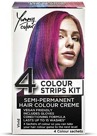 Stargazer Yummy Colour - Juego de 4 tiras de tinte para el cabello semipermanentes, color violeta