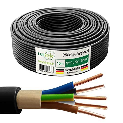 Fair Style NYY-J - Cable eléctrico (10 m, 5 x 1,5 mm², cobre, fabricado en Alemania)