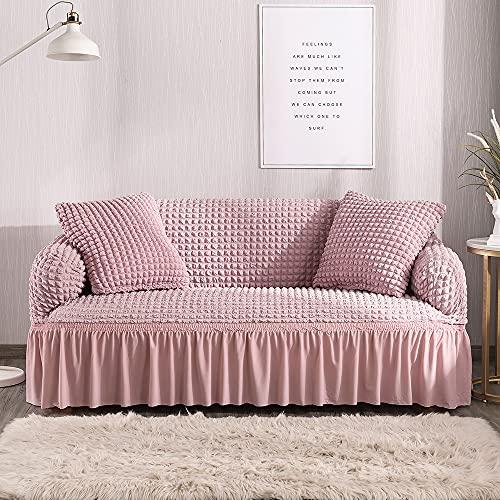 Funda de sofá elástica, funda de sofá de esquina seccional para sala de estar, funda de sofá roja de 1/2/3/4 plazas para sofás (color rosa, especificación: funda de cojín de 2 unidades)