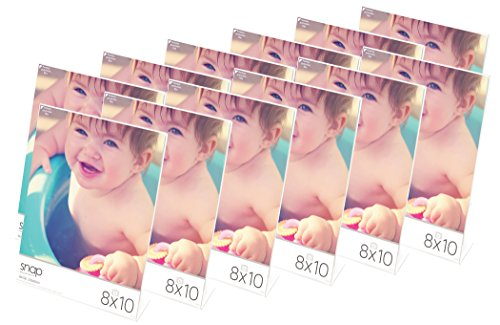 Snap Clear Acrylic Self Standing Photo, Set of 12 Picture Frame Set, 8 x 10, 12 Count