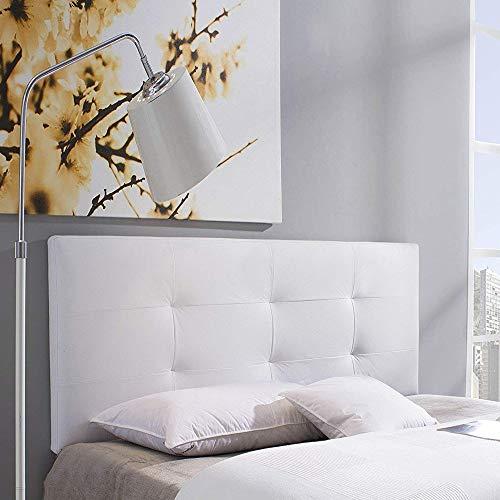 Cabecero tapizado Carla 140X60 cm Blanco, para Cama de 135 cm, Acolchado con Espuma, 8 cm de Grosor, Incluye herrajes para Colgar