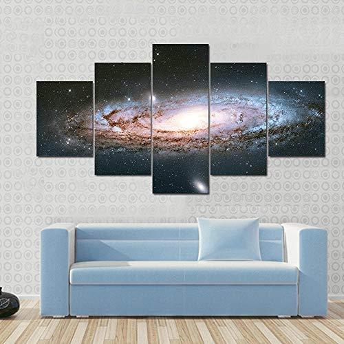 BHJIO 5 Piezas Cuadro sobre Lienzo Imagen Espacio Galaxy Impresión Pinturas Murales Decor Fotos para Salon Dormitorio Baño Comedor Regalo 80X150Cm
