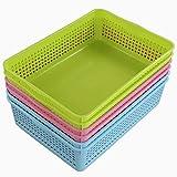 Ponpong Cestini in Plastica A4, Confezione da 6 Pezzi, Colore: Blu/Verde/Rosa