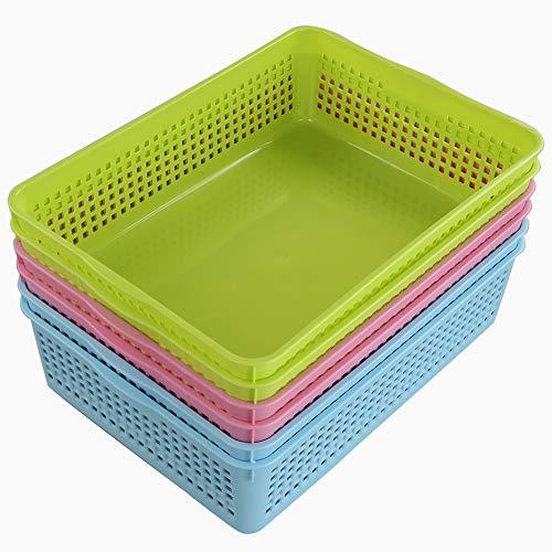 Ponpong Haushaltskorb Plastikkorb Plastik Korb Kunststoff a4 Aufbewahrungskörbe Kunststoff Körbchen Badezimmer, Blau Grün Rosa, 6 Stück