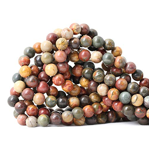 """Qiwan 45PCS 8mm Natural Picasso Jasper Gemstone Round Loose Stone Beads for Jewelry Making Wholesale Beads 1 Strand 15"""""""