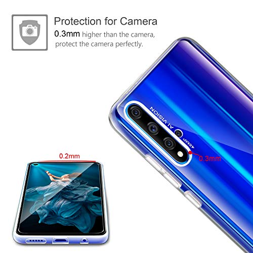 Leathlux Huawei Honor 20 / Nova 5T Hülle + [2 Stück] Panzerglas Schutzfolie, Honor 20 Durchsichtig Case Transparent Silikon TPU Schutzhülle 9H Härte HD Panzerglasfolie Glas für Honor 20/ Nova 5T - 5
