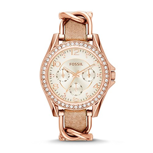 Fossil Women's Riley Quartz Leather Multifunction Watch, Color: Rose Gold, Tan (Model: ES3466)