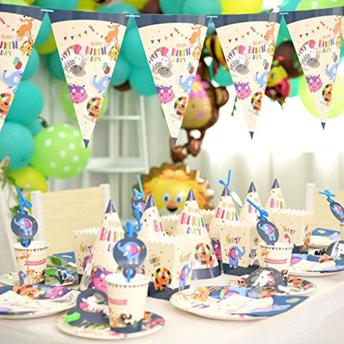 Purchase LAOHAO Zoo Theme Children's Birthday Dinner Dress Up Disposable Party Tableware Arrangement...