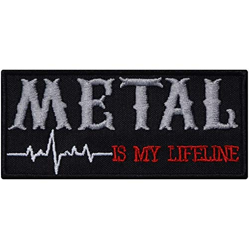 Metal is My Lifeline Aufnäher Biker Aufbügler Heavy Metal Patch Death-Metal Festival Music Punk Abzeichen Trash Rocker Bügelbilder DIY Applikation Jeans-Weste/Kutten/Outdoor/Festival 90x40mm