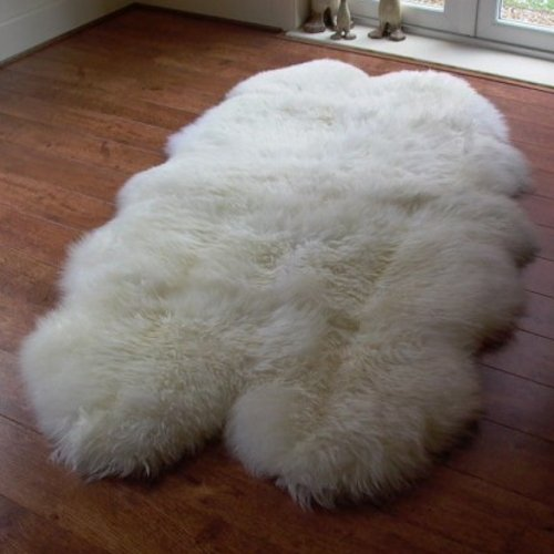 Natural Sheepskin Rug with Extra Thick & Soft Wool (Quad Fleece: 190x120cm)