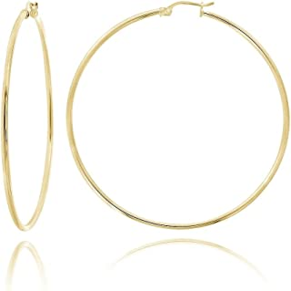 MCS Jewelry 14 Karat Yellow OR White Gold Classic Hoop Earrings (Diameter: 40 mm)