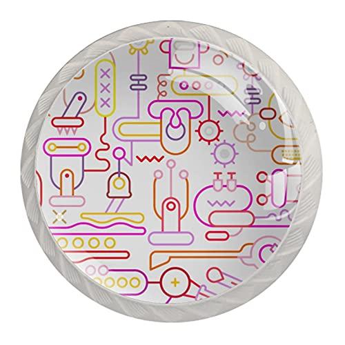 Le maniglie dei cassetti tirano il vetro di cristallo rotondo Manopole dell'armadio Maniglia dell'armadio da cucina,neon officina robot robot