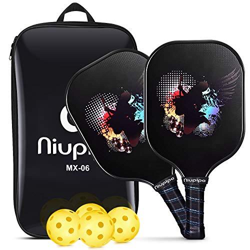 niupipo Pickleball Paddles, USAPA Pro Graphite Pickleball Paddle Set of 2 Pickleball Racquet 4 Pickleball Balls 1 Bag, Polypropylene Honeycomb Core, Graphite Face Cushion 4.25In Grip Pickleball