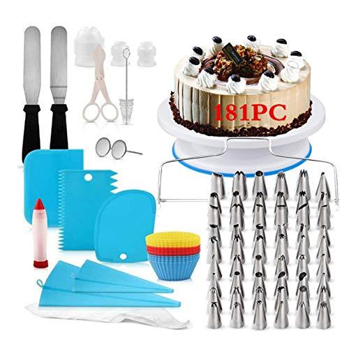 Decorazione la Torta Kit di Utensili181Pezzi di Utensili da Decorazione per della Pasticceria Professionale,Borse ed Ugelli per Glassa, Giradischi, Unghie di Fiori, Fresa per Dolci Spatola (181PC)