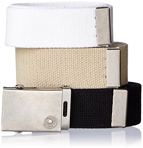 Levi's Men's Cut To Fit 3 Pack Web Belt With Buckle,black/white/khaki,One Size