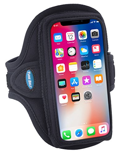 Tune Belt AB90 Exercise Armband for Cell Phones - iPhone 12 Mini, 11 Pro, SE 2020, X XS, Galaxy S10e S9 - Water Resistant Pouch for Running & Working Out (Black)