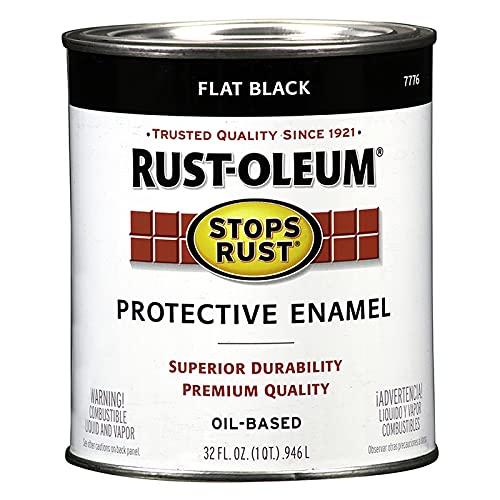 1 qt Rust-Oleum Brands 7776502 Black Stops Rust Protective Enamel, Flat Pack of 1
