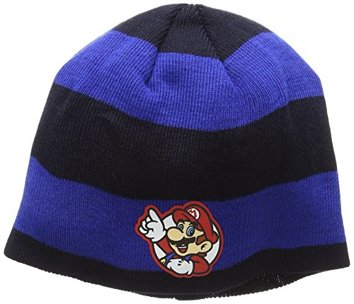 NINTENDO SUPER MARIO BROS. Striped Mario Badge Bonnet, Bleu-Bleu, Taille Unique Mixte