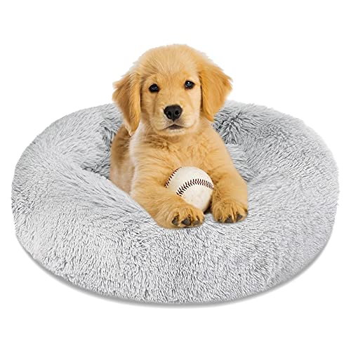 Calming Dog Bed Cat Bed Donut Cuddler, Anti Anxiety Dog Bed for Small Medium Large Dogs Cats, Machine Washable Round Warm Bed, Faux Fur Pet Bed, Waterproof Non-Slip Bottom (23'/30'/36')