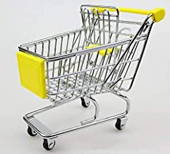 Small Supermarket Shopping Cart Model Mini Trolley Office Creative Ornaments Decoration Children's Toys Car Model Crafts Gifts (YELLOW)