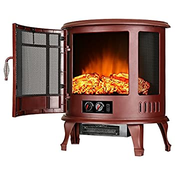 e-Flame USA Regal Freestanding Electric Fireplace Stove - 3-D Log and Fire Effect  Red