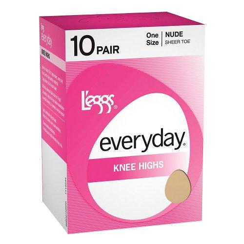L'eggs Everyday Knee Highs 10 Pair - OneSize, Jet Black