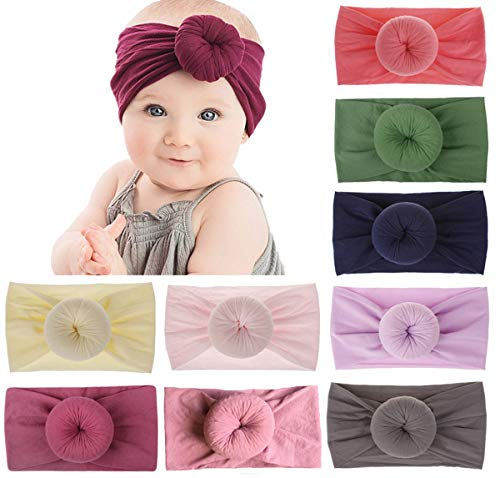 Baby Bow Headbands Turban Knotted, Girl's Hairbands for Newborn,Toddler and Childrens (Loop Bows)