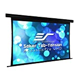 Elite Screens Saker Tab-Tension AcousticPro UHD Series, 135' Diagonal 16:9, 4K/8K Ultra HD Electric Sound Transparent Perforated Weave Drop Down Front Projector Screen, SKT135UH-E12-AUHD