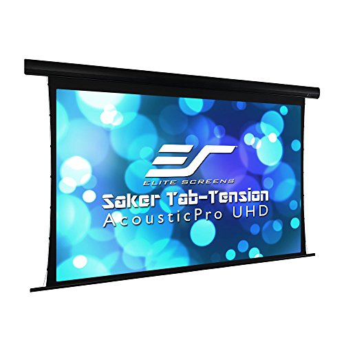 Elite Screens Saker Tab-Tension AcousticPro UHD Series, 100' Diagonal 16:9, 4K/8K Ultra HD Electric Sound Transparent Perforated Weave Drop Down Front Projector Screen, SKT100UH-E24-AUHD