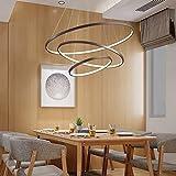 N/Z Inicio Equipamiento Luz Led Regulable Cocina Mesa de Comedor Lámpara Colgante Marrón Aluminio y Blanco Lámpara Redonda de 3 Anillos Sala de Estar Lámpara Colgante Comedor Ro