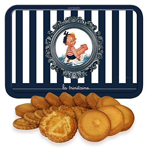 ラ・トリニテーヌ レトロキッズ ストライプ 坊や 缶 クッキー ガレット・パレット詰め合わせ