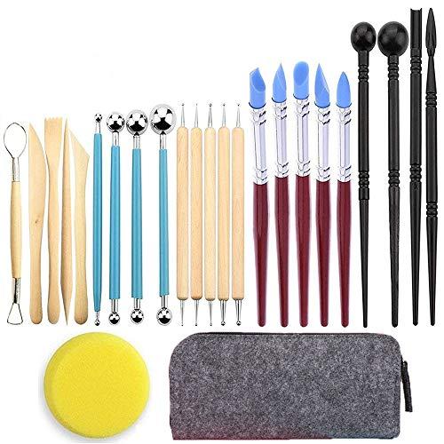 Wuudi - Juego de herramientas de arcilla polimérica para modelar, 24 piezas, herramientas de cerámica, escultura con bolsa de almacenamiento portátil para cerámica de arcilla, escultura, manualidades