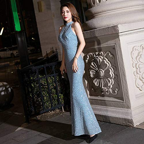 BINGQZ Party Jurk/prinses blauw satijn sprankelende zeemeermin avondjurk vintage halter mouwloos rood partij trompet avondjurk zwarte jurk