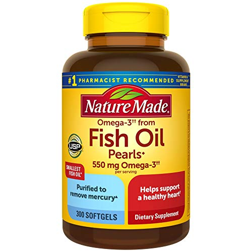 Nature Made Omega-3†† from Fish Oil 550 mg Softgels, 300 Count for Heart Health† (Packaging May Vary)