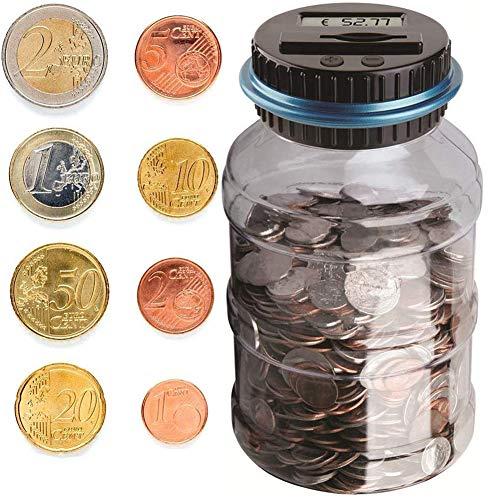BESTZY Contador Digital de Hucha per EUR, Automático Moneda Contando Caja de Dinero para Niños y Adultos, Banco de Dinero Seguro Moneda de Ahorro de Contenedores de Pote Pantalla LCD