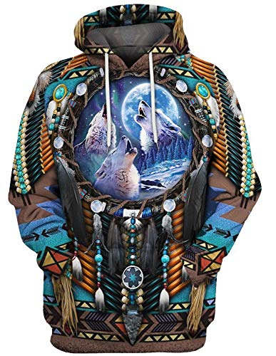 QYIFIRST Sudadera con capucha para disfraz de Indios de Indios de Indios con capucha 3D, color marrn, talla XL (pecho 113 cm)