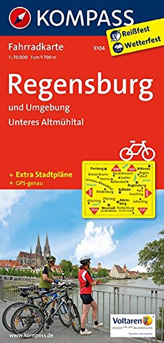 Regensburg und Umgebung - Unteres Altmühltal: Fahrradkarte. GPS-genau. 1:70000: Fietskaart 1:70 000 (KOMPASS-Fahrradkarten Deutschland, Band 3104)