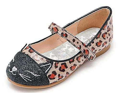 Furdeour Toddler Leopard Dress up Shoes Little Girls Glitter Ballet Flat Princess Slip-on Loafer Shoes Size 9 (Leopard 9)